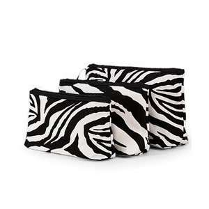 Zebra Print 3 Piece Cosmetic Makeup Bag Set Black & White