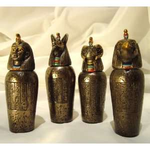 Bronze Egyptian Canopic Jars Jar Set of 4 Gifts