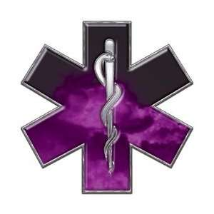 Star of Life EMT EMS Fire Purple 6 Reflective Decal