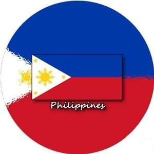 58mm Round Pin Badge Philippines Flag: Home & Kitchen