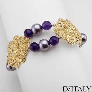 Dv Italy 5.45.Ctw Amethyst Gold Plated Silver Bracelet DV
