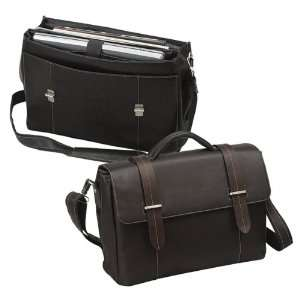 Leather Flap over Laptop Computer Bag  Brown
