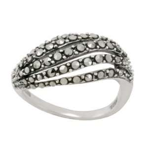 Sterling Silver Marcasite Open Work Wave Band Ring, Size 5 Jewelry