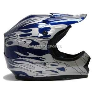 Youth Blue Flame Motocross MX ATV Dirt Bike Off road Helmet DOT (Small
