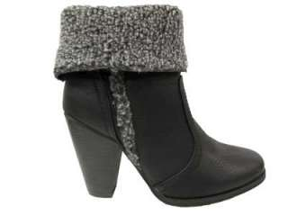NEW LADIES BLACK FUR TRIM ANKLE HIGH HEEL SHOES BOOTS WOMENS UK SIZES