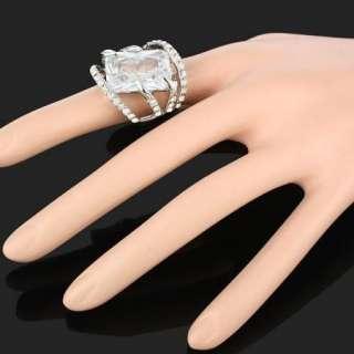 ARINNA Ladies awesone Radiant Cocktail Fashion Ring 18K WGP Swarovski