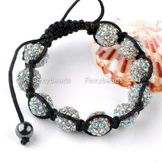 Woven 10 Pave AB Clear Disco Ball Crystal Rhinestone Charm Bead Bangle