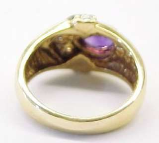 Amethyst Solitaire, and Diamond Accented 14KT Solid Yellow Gold Ring