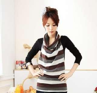 New 2 Pcs Korea Womens Turn Down Collar Stylish Top T Shirt Tops