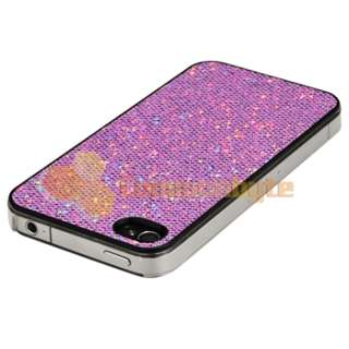 For iPhone 4 4S 4G 4GS G PURPLE CASE+CAR+AC CHARGER+PRIVACY FILM