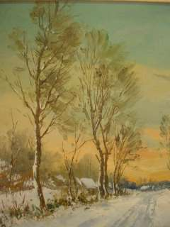 Antique ORIG GUSTAVE PYNAERT OIL PAINTING Winter Scene 2 SNOWY VILLAGE