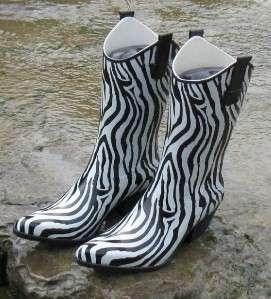 Womens Western Cowboy Zebra Stripe Rain Boots Size 6 RZ