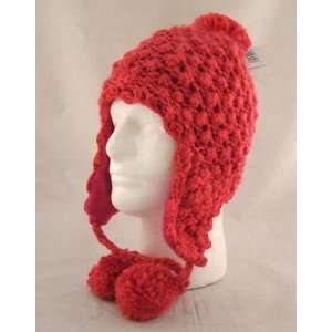 Hand Knit Hot Pink Crochet Ear Flap Pom Trooper Beanie Hat
