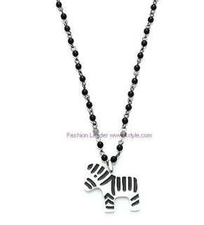 Korean Cute Zebra Black Bead Fashion Long Necklace Z102