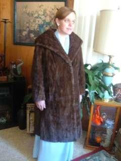 Vintage Genuine Mink Fur Coat Full Length Swing 3 Way Collar 1950s