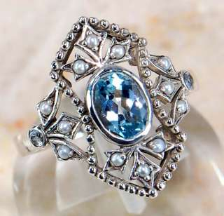 Aquamarine Seed Pearl 925 Solid Sterling Silver Victorian Style Ring