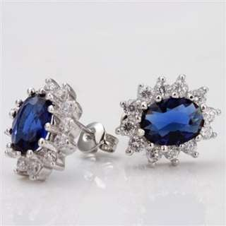 Z29 18K W Gold GP blue Swarovski Crystal Sunflower Earring