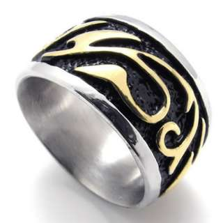 Mens Gold Black Stainless Steel Ring US Size 8,9,10,11,12,13 US120301