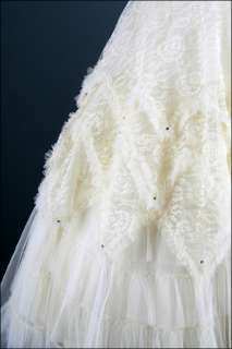 1307  Vtg 50s Ivory Lace Tulle Rhinestones Wedding Bridal Prom Party