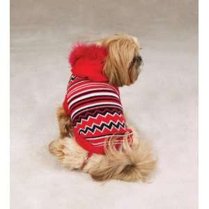 Dog Holiday Striped Hoodie Sweater   Red   X Small