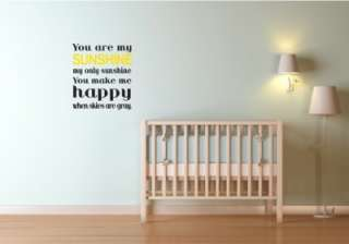 You Are My Only Sunshine Nursery Vinyl Wall Word Art