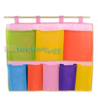 New 8 Different Size Pockets Canvas Wall Hanging Storage Bag Organizer