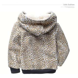 Fashion Girls Leopard Print Berber Fleece Hooded Zip Winter Coat 2 7