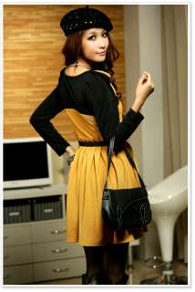 CHIC RIGHT SHOULDER BOW MIXED COLORS LONG SLEEVE DRESS 1646