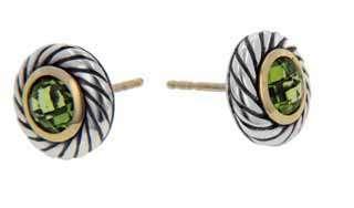 David Yurman Peridot 18K Yellow Gold Sterling Silver Earrings