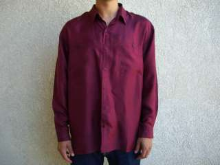 189 Silk New Mens Burgundy Shirts Long Sleeve w/Pockets