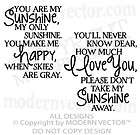 You Are My SUNSHINE Quote Vinyl Wall Decal Lettering Nu