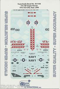 48 SuperScale Decals F/A 18F Super Hornet F 18F VFA 102 CAG