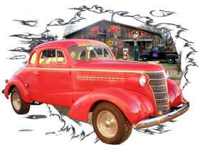 You are bidding on 1 1938 Red Chevy Coupe b Custom Hot Rod Garage