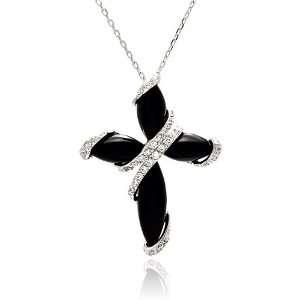 Zirconia Cross Sterling Silver Necklace Measurement 36.8Mm X 28.1Mm