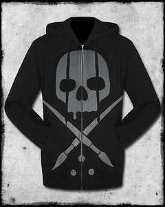 SULLEN CLOTHING WILL RISE MENS BLACK GREY TATTOO LOGO GOTH ZIP HOODIE