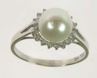 LADIES 14K WHITE GOLD DIAMOND PEARL ESTATE RING 164092