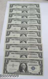 10 US 1957 $1 DOLLAR SILVER CERTIFICATE STAR NOTES CONSECUTIVE