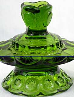 Pressed Glass Moon Stars COVERED COMPOTE Emerald Green
