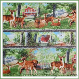 BOOAK Fabric Retro Baby Bambi Deer Wild Shroom Dot Green Pink Retro