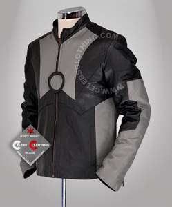 Tony Stark Iron Man 2 Black and Grey Leather Jacket