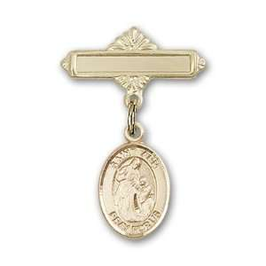 Polished Badge Pin St. Ann is the Patron Saint of Housekeepers/Mothers