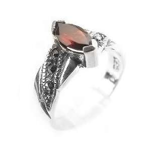 Sterling Silver Marcasite and Garnet Ring Size 8(Size 5,6