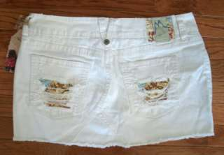 NEW $89 MARLOW JEANS Sz 30 11 White Denim Distressed Patched Mini