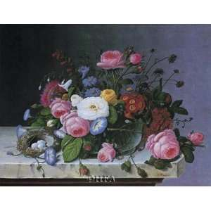 Still Life with Flowers and Bird Nest by Severin Roesen