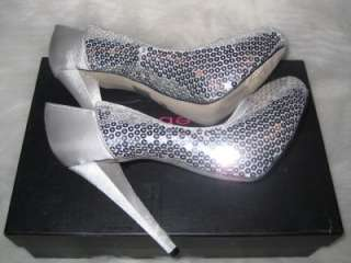 Bebe Silver Nicole Sequin High Heel Pumps Size 7 NIB