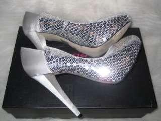 Bebe Silver Nicole Sequin High Heel Pumps Size 7 NIB