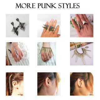 Golden Cool Triangle double rings Punk cocktail ring WPI