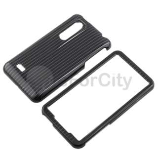 BLACK LINE HARD COVER CASE+LCD Protector FOR LG Thrill 4G ACCESSORY