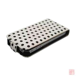 White POLKA DOT LEATHER FLIP CASE COVER POUCH FOR iPhone 4S 4 4G