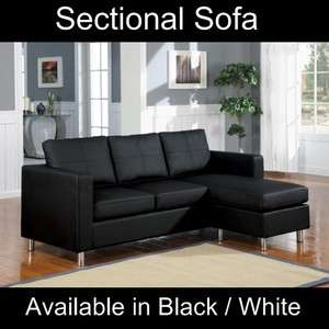 Small Black Faux Leather Sectional Sofa Set Modern Couch Perfect for